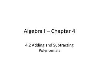 Algebra I – Chapter 4