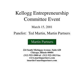 Kellogg Entrepreneurship Committee Event March 15, 2001