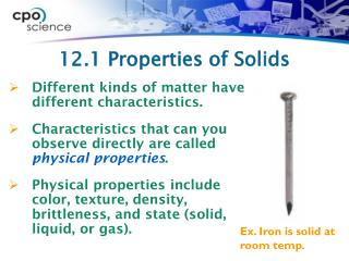 12.1 Properties of Solids