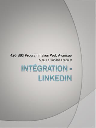 Intégration  - LINKEDIN