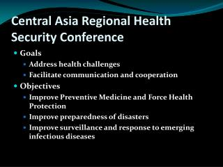 Central Asia Regional Health Security Conference