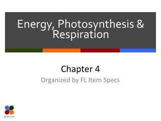 Energy, Photosynthesis & Respiration