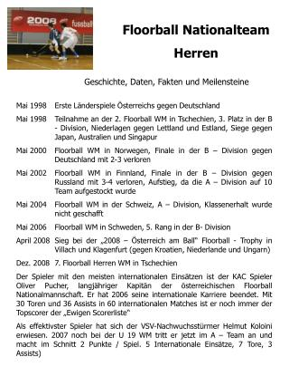 Floorball Nationalteam  Herren