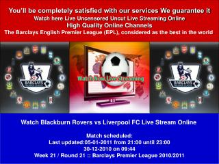 Blackburn Rovers vs Liverpool FC LIVE STREAM ONLINE TV SHOW