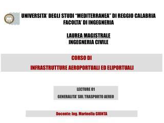 """UNIVERSITA' DEGLI STUDI """"MEDITERRANEA"""" DI REGGIO CALABRIA FACOLTA' DI INGEGNERIA LAUREA MAGISTRALE"""
