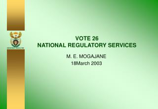 VOTE 26 NATIONAL REGULATORY SERVICES