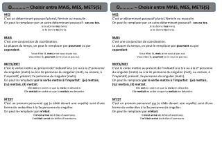 O.......... – Choisir entre MAIS, MES, METS(S)