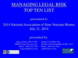MANAGING LEGAL  RISK TOP TEN LIST