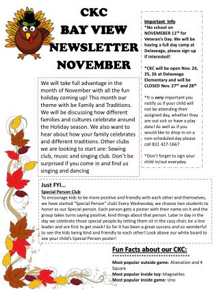 CKC  BAY VIEW NEWSLETTER NOVEMBER