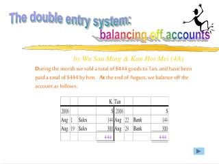 The double entry system:
