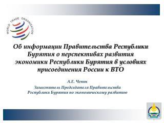 А.Е. Чепик Заместитель Председателя Правительства Республики Бурятия по экономическому развитию
