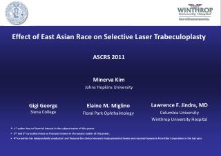 Effect of East Asian Race on Selective Laser Trabeculoplasty ASCRS 2011 Minerva Kim