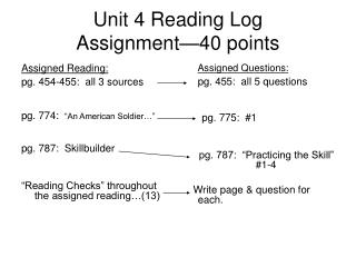 Unit 4 Reading Log  Assignment—40 points