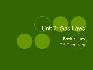 Unit 7: Gas Laws