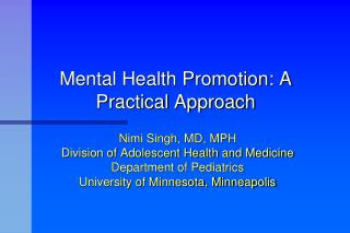 Mental Health Promotion: A Practical Approach