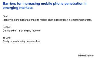 Barriers for increasing mobile phone penetration in emerging markets