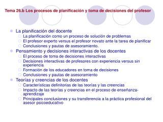 Tema 26.b Los procesos de planificaci n y toma de decisiones del profesor