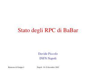 Stato degli RPC di BaBar