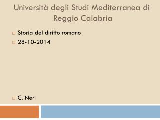 Universit� degli Studi Mediterranea di  Reggio Calabria