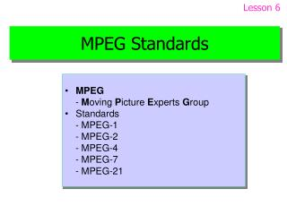 MPEG Standards
