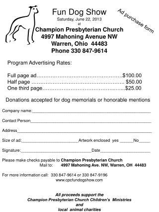 Fun Dog Show Saturday, June 22, 2013 at Champion Presbyterian Church 4997 Mahoning Avenue NW