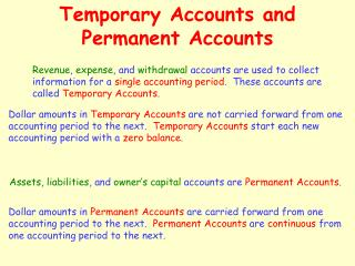 Temporary Accounts and Permanent Accounts