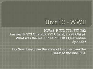 Unit 12 - WWII