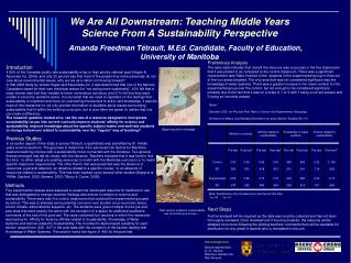 We Are All Downstream: Teaching Middle Years  Science From A Sustainability Perspective