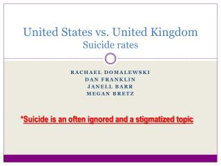 United States vs. United Kingdom Suicide rates