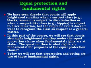Equal protection and fundamental rights