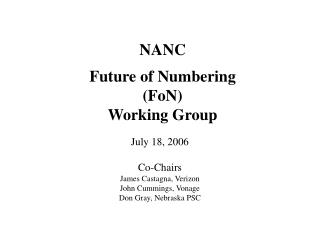 NANC Future of Numbering (FoN) Working Group