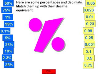 Here are some percentages and decimals. Match them up with their decimal equivalent.