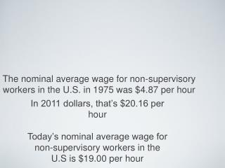 The nominal average wage for non-supervisory workers in the U.S. in 1975 was $4.87 per hour