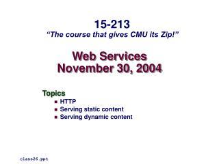 Web Services November 30, 2004