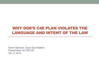 Why DOE's C4E plan violates the language and intent of the law