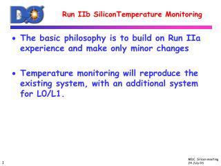 Run IIb SiliconTemperature Monitoring