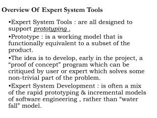 Overview Of Expert System Tools
