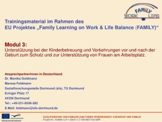 "Trainingsmaterial im Rahmen des  EU Projektes "" Family Learning on Work & Life Balance  ( FAMILY)"""