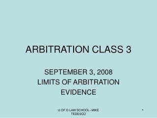 ARBITRATION CLASS 3
