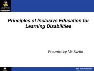 Principles of Inclusive Education for Learning Disabilities
