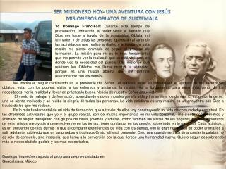SER MISIONERO HOY- UNA AVENTURA CON JESÚS  MISIONEROS OBLATOS DE GUATEMALA