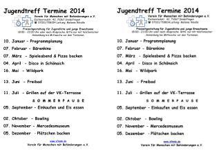 Jugendtreff Termine 2014 Verein für Menschen mit Behinderungen e.V .