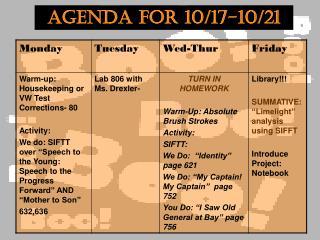 Agenda for 10/17-10/21