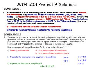 MTH-5101 Pretest A Solutions