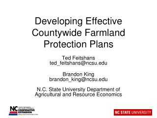 Developing Effective Countywide Farmland Protection Plans