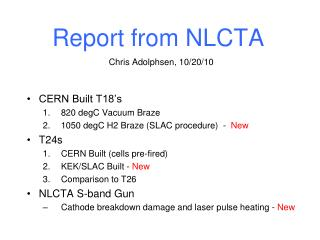 Report from NLCTA