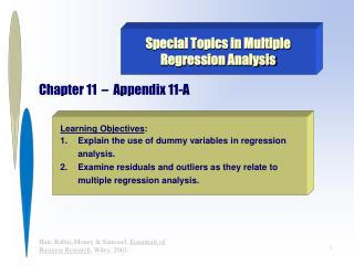 Special Topics in Multiple Regression Analysis