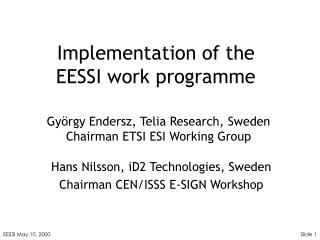Implementation of the  EESSI work programme