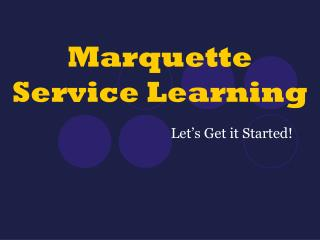 Marquette Service Learning