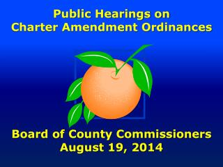 Public Hearings on Charter Amendment Ordinances Board of County Commissioners August 19, 2014